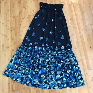 I.N.C. Strapless blue floral maxi summer dress